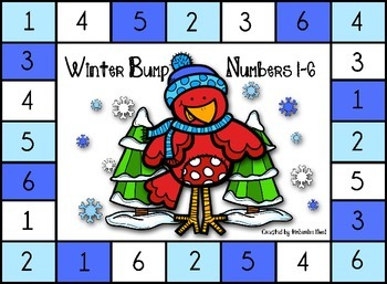 Winter BUMP! Math Game - Numbers 1-6 and 7-12