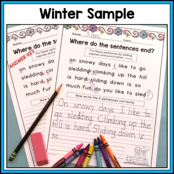 Winter BUNDLE - Punctuation and Capitalization: Where do the sentences end?