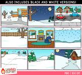 Winter Background Scenes Clip Art