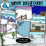 Winter Background Scenes Clip Art - Chirp Graphics