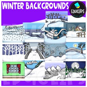 Winter Backgrounds Clip Art Bundle {Educlips Clipart}