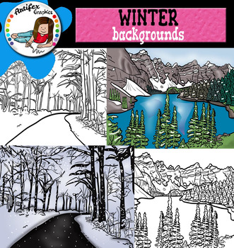 Winter Backgrounds Clip Art- Color and B&W