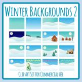 Winter Backgrounds Scenes 2 / Christmas Background Scenes Clip Art Set