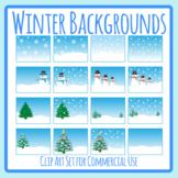 Winter Backgrounds Scenes / Christmas Background Scenes Clip Art Set