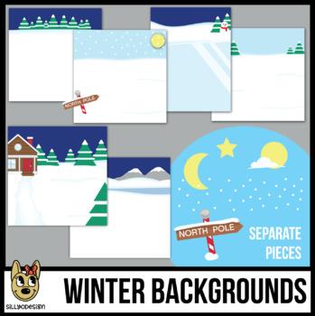 Winter Backgrounds Scenes Clip Art