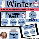 Winter Banners and Buttons for Canvas | Schoology | Google Sites™