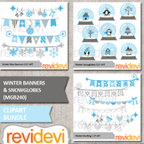 Winter Banners and Snowglobes Clip Art Bundle