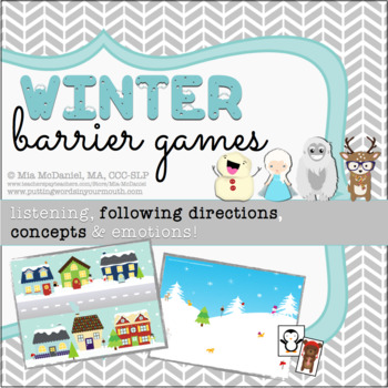 Winter Barrier Games {for listening, following directions, concepts & emotions!}