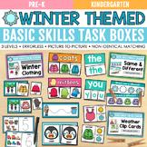 Winter Basic Skills Task Boxes (pre-k, kindergarten, special education)