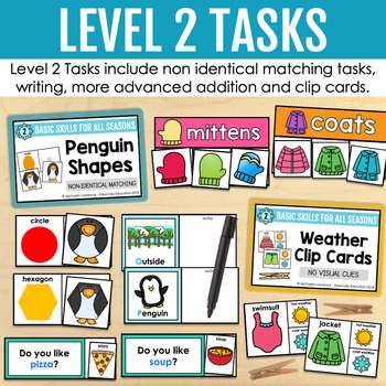Winter Basic Skills Task Boxes (pre-k and special education)