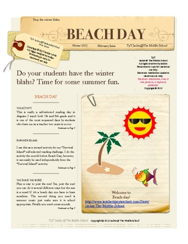 Winter Beach Day - Beat the winter Blahs: A book report competition
