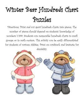 Winter Bear Hundreds Chart Puzzles