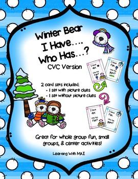 Winter Bear - I Have, Who Has? - CVC Edition