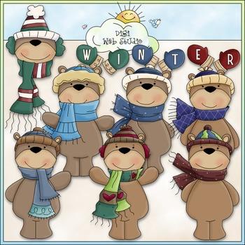 Winter Bears Clip Art - Winter Clip Art - Teddy Bears Clip Art -CU ClipArt & B&W