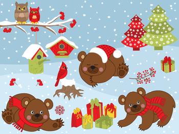 Winter Bears Clipart - Digital Vector Bear, Christmas, Cardinal, Owls Clip