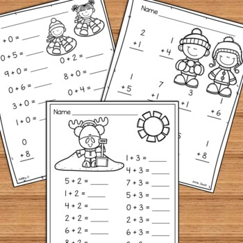 winter beginning addition and subtraction worksheets kindergarten  winter beginning addition and subtraction worksheets kindergarten  st  grade