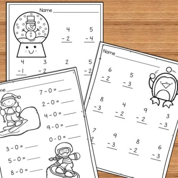 Winter Beginning Addition and Subtraction Worksheets Kindergarten ...