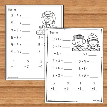 Winter Beginning Addition And Subtraction Worksheets Kindergarten 1st Grade