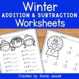 Winter Beginning Addition and Subtraction Worksheets Kinde