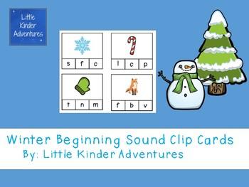 Winter Beginning Sound Clip Cards - FREEBIE