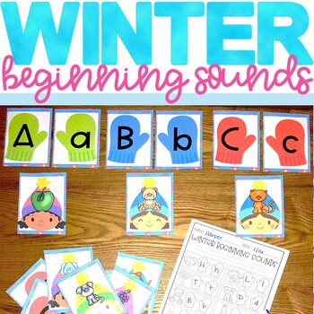 Winter Beginning Sounds Center Activity and Worksheet