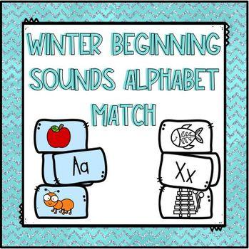 Winter Beginning Sounds Alphabet Match