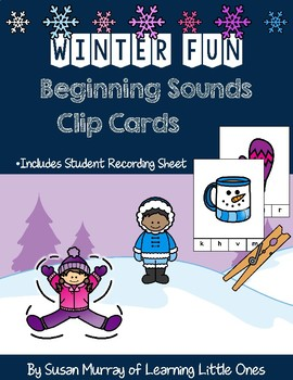 Winter Beginning Sounds Clip Cards