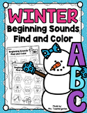 Winter Beginning Sounds - Find and Color