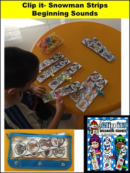 Winter Beginning Sounds LITERACY Center Activity- Clip a Snowman