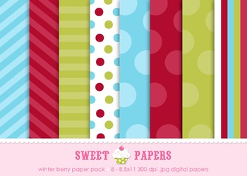 Winter Berry, Aqua and Green Digital Paper Pack - by Sweet Papers