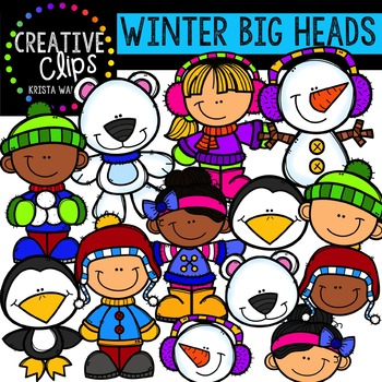 Winter Big Heads {Creative Clips Digital Clipart}