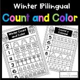 Winter Bilingual Count and Color - No Prep