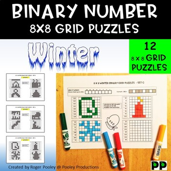 Winter Binary Number 8x8 Grid Puzzles - 12 puzzles, no Prep, answers