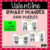 Valentines Day Binary Number 8x8 Grid Puzzles - 12 puzzles, no Prep, answers