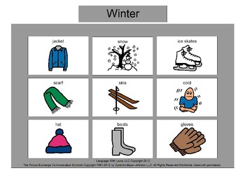 Winter Bingo! Single Board [speech therapy and autism]