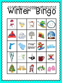 This is a graphic of Fan Winter Bingo Cards Free Printable