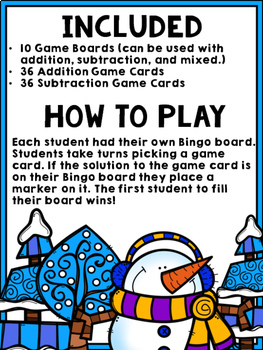Winter Bingo {Addition and Subtraction within 10}