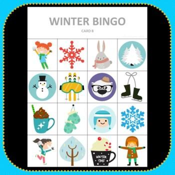Winter Bingo - Cute Winter Themed Bingo Game Snowflake Tree Preschool & K-2 kids