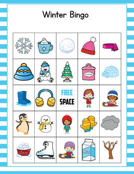 It is an image of Modest Winter Bingo Cards Free Printable