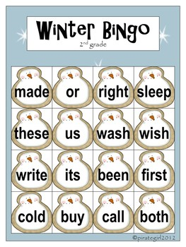 Winter Bingo Game (Dolch 2nd Grade)