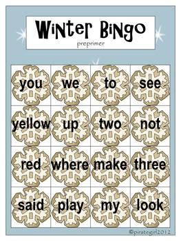 Winter Bingo Game (Dolch Preprimer)