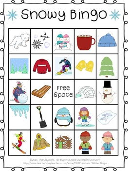 It is a picture of Rare Winter Bingo Cards Free Printable