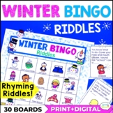 Winter Bingo Riddles Speech Therapy Activity