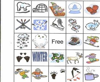 Winter Bingo game for preschool or elementary school