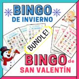 Winter Bingo in Spanish, Valentine's Day Spanish Bingo BUN