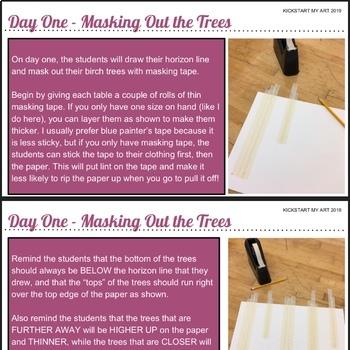 Winter Birch Trees Art Lesson