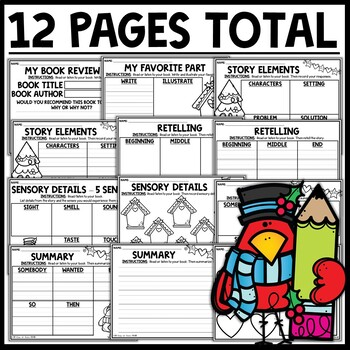 Winter Bird Themed Reading Response Worksheets