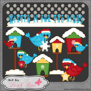 Winter Birds 1 - Art by Leah Rae Clip Art & Line Art / Digital Stamps