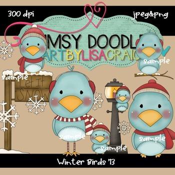 Winter Birds 300 dpi clipart