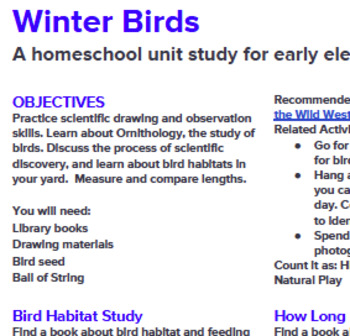 Winter Birds, A Homeschool Unit Study for Mixed Ages